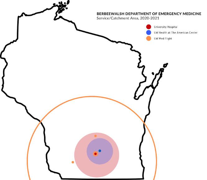 Emergency medicine service area map