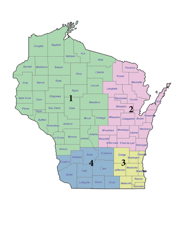 WMAA Board of Directors district map
