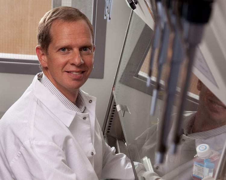 Photo of David Gamm in the lab