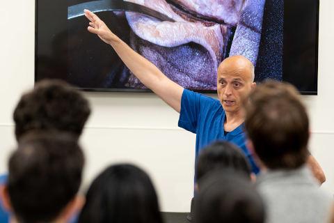 A professor lecturing