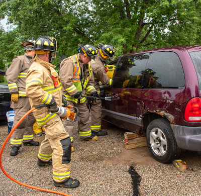 Disaster training on a simulated car accident