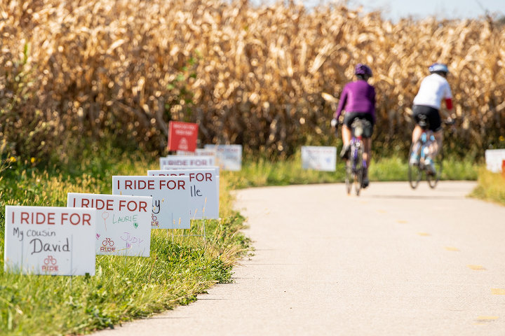 Cyclists riding to raise money for cancer research
