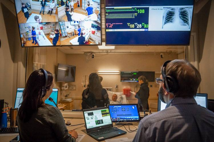 The control room of a medical simulation facility