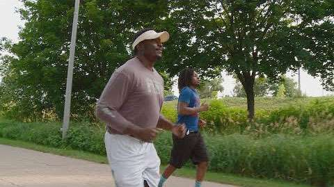 Two men jogging
